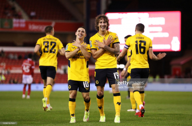 Daniel Podence and Fabio Silva celebrate Wolves' second goal.(Photo by Jack Thomas - WWFC/Wolves via Getty Images)