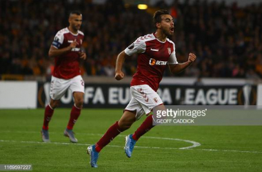 <div>Ricardo Horta celebrates scoring his team's first goal during the UEFA Europa League Group K football match between Wolverhampton Wanderers and Sporting Braga (Photo by GEOFF CADDICK / AFP) (Photo credit should read GEOFF CADDICK/AFP/Getty Images)</div><div><br></div>