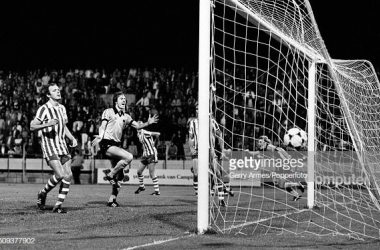 Andy Gray (far right) has scored the equalising goal for Wolverhampton Wanderers during their UEFA Cup 1st round 1st leg match against PSV Eindhoven at the Philips Stadium in Eindhoven, 17th September 1980. PSV Einhoven won the match 3-1. (Photo by Gerry Armes/Birmingham Mail/Popperfoto via Getty Images/Getty Images)
