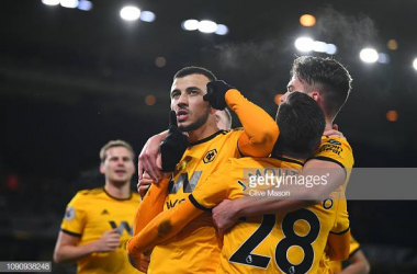 Romain Saiss of Wolverhampton Wanderers celebrates during the Premier League match between Wolverhampton Wanderers and West Ham United at Molineux on January 29, 2019 (Photo by Clive Mason/Getty Images)