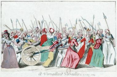 LaMarcha de las Mujeres a Versalles el 5 de octubre de 1789. Biblioteca Nacionalde Francia (PD).