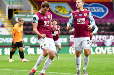 Chris Wood celebrating his goal alongside Matej Vydra (www.pendletoday.co.uk)