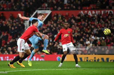 <div>Manchester United v Burnley FC - Premier League</div><div>MANCHESTER, ENGLAND - JANUARY 22: Chris Wood of Burnley scores his team's first goal during the Premier League match between Manchester United and Burnley FC at Old Trafford on January 22, 2020 in Manchester, United Kingdom. (Photo by Gareth Copley/Getty Images)</div>