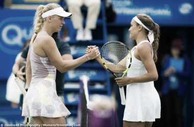 Wozniacki and Puig shake hands at the net following their last encounter which Puig won in Eastbourne (Source: Jimmie48 Tennis Photography)