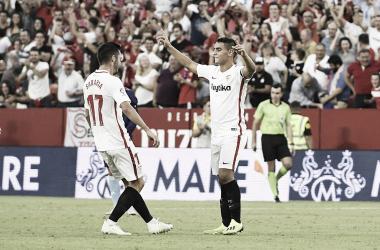 Wissam Ben Yedder celebrando un gol   Foto Sevilla FC