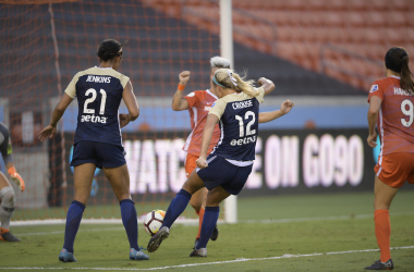 Frannie Course and Darian Jenkins  have both moved on from the Courage since this match against the Houston Dash. | Photo: isiphotos.com
