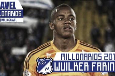 Millonarios 2018-I: Wuilker Fariñez. Foto Azul Total. Montaje: VAVEL Millonarios.