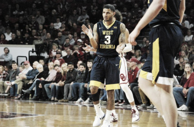 James Holden reacts during West Virginia's road win at Oklahoma/Photo: Kyle Phillips/Associated Press