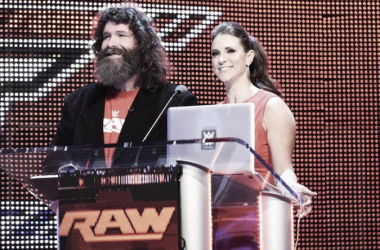 Mick Foley and Stephanie McMahon during the draft (image: Mirror.co.uk)