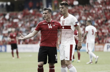 Granit Xhaka marks brother, Taulant, during Switzerland's victory over Albania at Euro 2016 | Image: Reuters