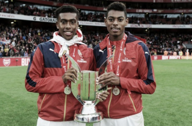 Alex Iwobi and Jeff Reine Adelaide after theEmirates Cup victory(Photo: ArsenalPics.com)