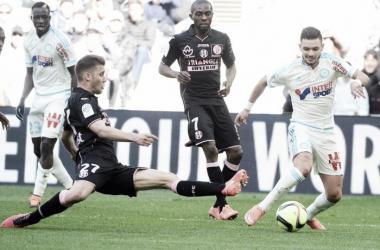 Imagen del partido entre el Marsella i el Toulouse de la jornada 29 (FUENTE: om.net)