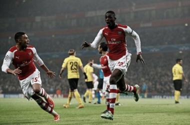 Sanogo celebrando un gol en Champions League. Foto: UEFA