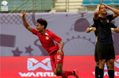 Saifullah Akbar celebrates giving his side the lead (Photo credit: Football Association of Singapore)