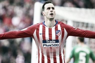 Nikola Kalinic celebra su gol al Alavés || FOTO: Club Atlético de Madrid.