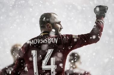Real Salt Lake's Yura Movsisyan celebrates a goal against Vancouver Whitecaps.   Photo: Spenser Heaps, Deseret News