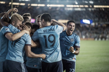 NYCFC celebrating a late winner at the weekend. | Photo: New York City FC