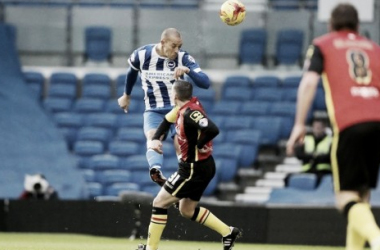 Bobby Zamora heads towards goal - image via @OfficialBHAFC