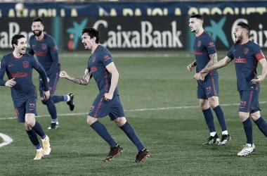Savic celebrando el 0-1 del Atleti. / Fuente: Atlético de Madrid