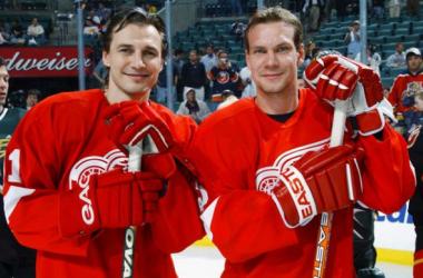 Sergei Fedorov y Nicklas Lidstrom l Foto: hockeysfuture.com