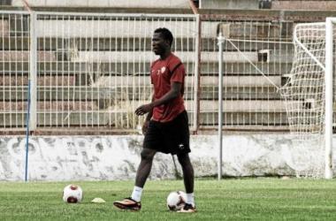 Zongo en un entrenamiento de la UD Almería. | Foto: lavozdealmeria.es.