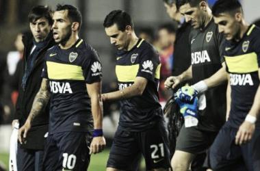 La desazón hecha imagen, Boca no logró cumplir con el gran objetivo. Foto: Clarín.