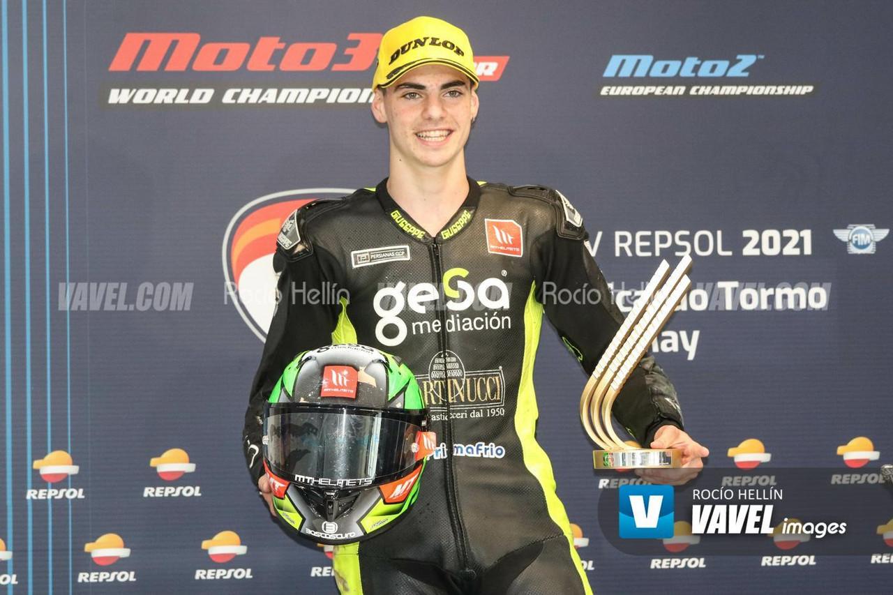 El podio de Moto2 al habla: Aldeguer victorioso