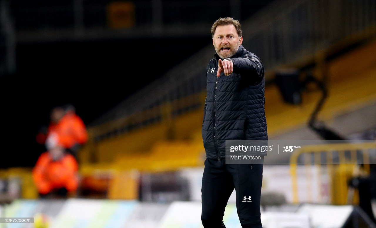 Ralph Hasenhüttl of Southampton during the Premier League match between Wolverhampton Wanderers and Southampton at Molineux on November 23, 2020, in Wolverhampton, England.  (Photo by Matt Watson/Southampton FC via Getty Images)