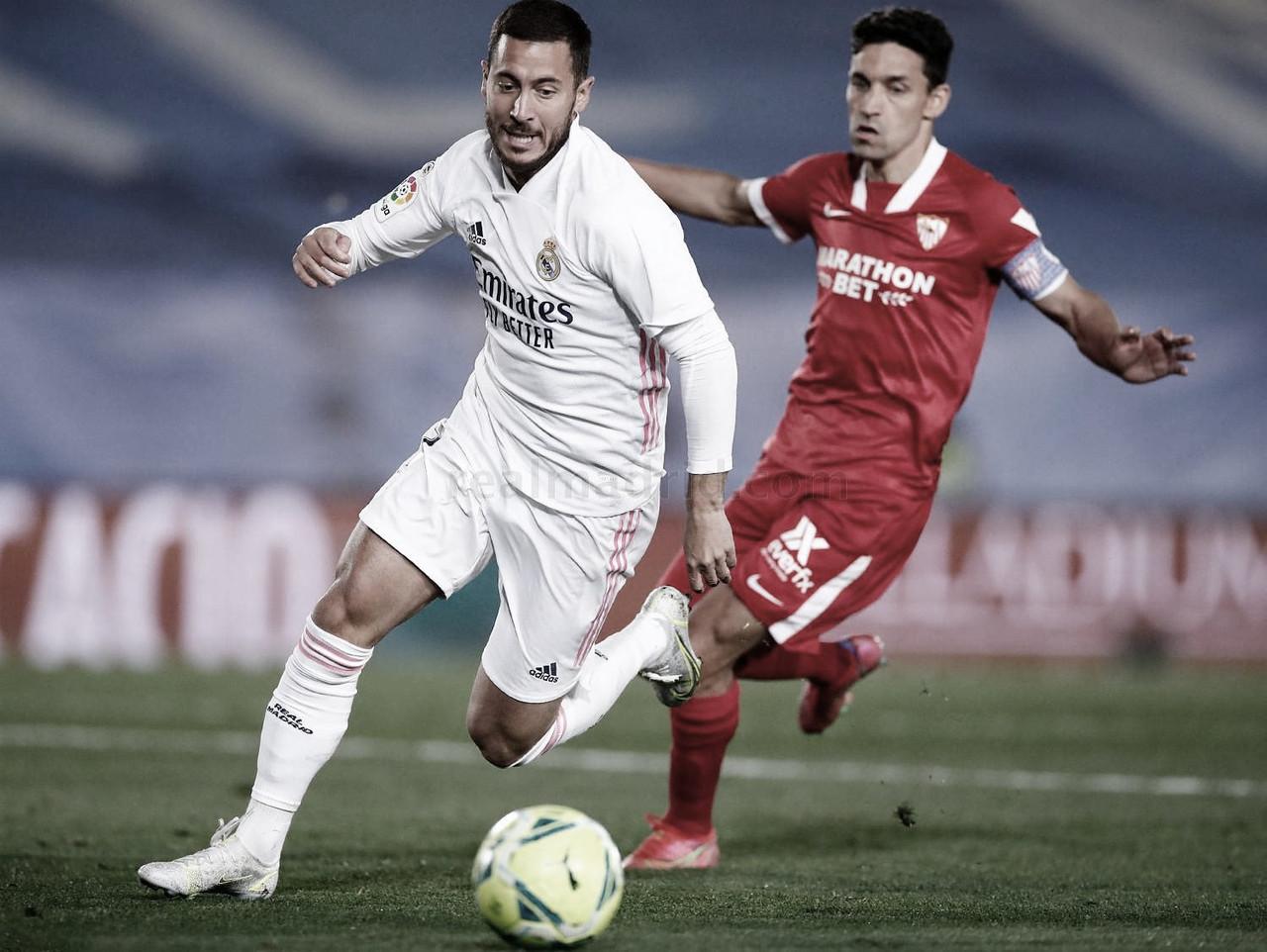 Com VAR protagonista, Hazard empata para o Real Madrid nos acrésicmos contra o Sevilla