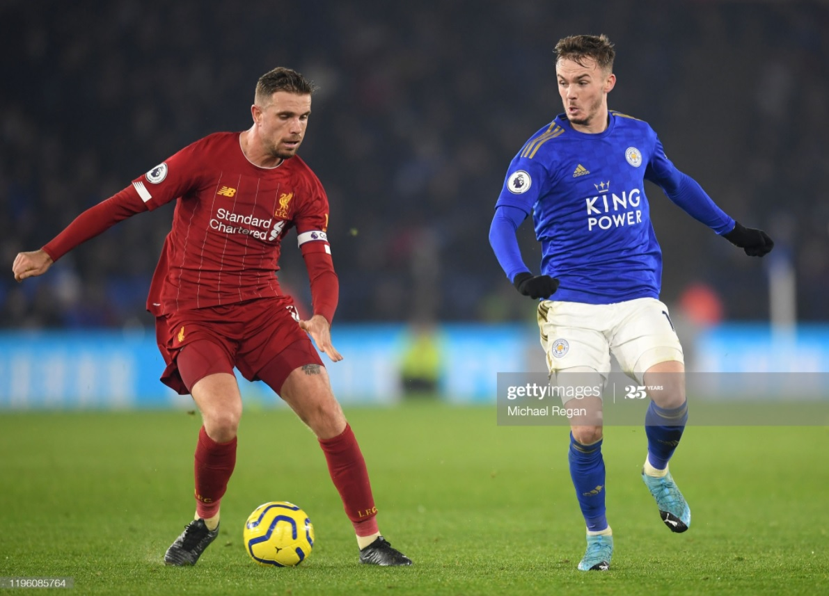 Jordan Henderson and James Maddison vie for possession | Photo: Getty/ Michael Regan