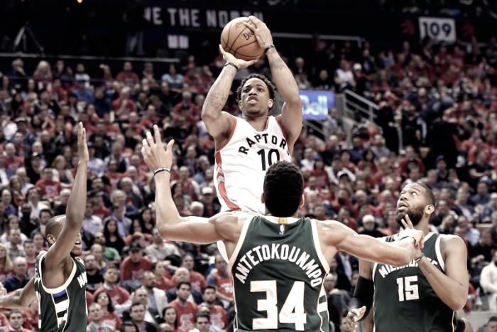 NBA Playoffs – Primo graffio dei Raptors ai Bucks. DeRozan guida Toronto al successo in Gara 2
