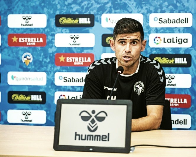 Hidalgo en la rueda de prensa previa al CE Sabadell - CD Leganés (28/10/2020) | Foto: CE Sabadell FC