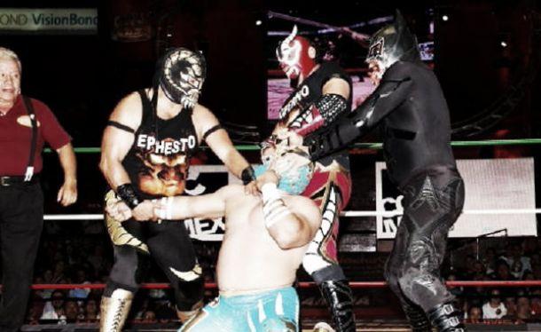 Ephesto, Mephisto y Luciferno, por el campeonato de tríos del CMLL