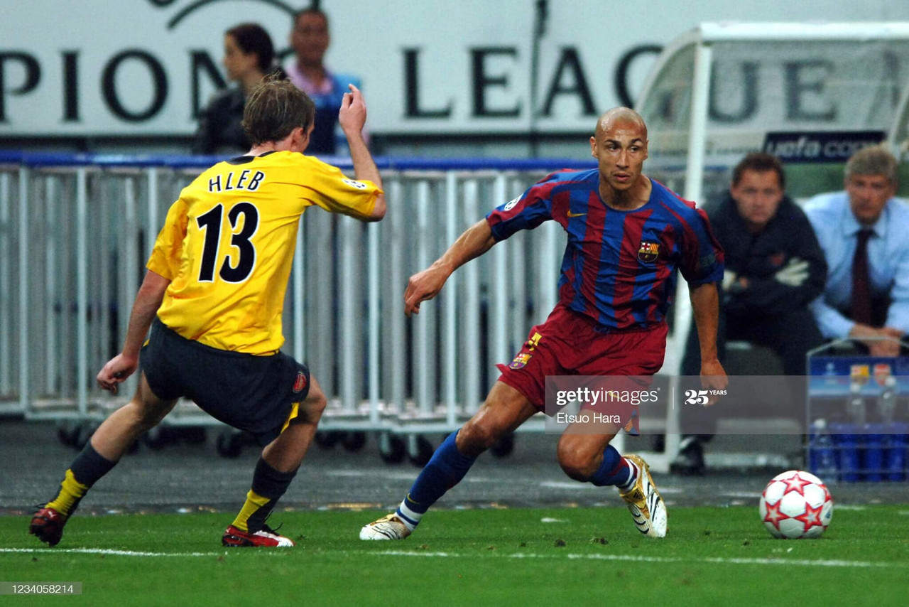 Barcelona v Arsenal - UEFA Champions League Final<br>SAINT-DENIS, FRANCE - MAY 17: Henrik Larsson of Barcelona takes on Alexander Hleb of Arsenal during the UEFA Champions League final match between Barcelona and Arsenal at the Stade de France on May 17, 2006 in Saint-Denis, France. (Photo by Etsuo Hara/Getty Images)