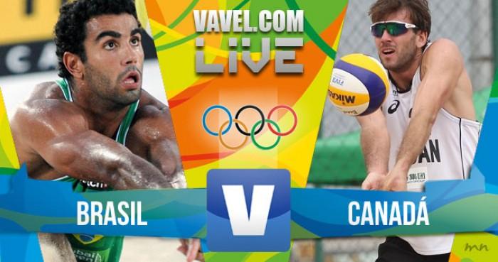 Brasil x Canadá no vôlei de praia masculino dos Jogos Olímpicos (1-2)