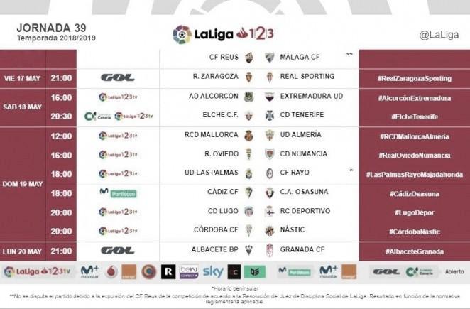 Horarios jornada 39: Las Palmas - Rayo Majadahonda, 18:00 horas