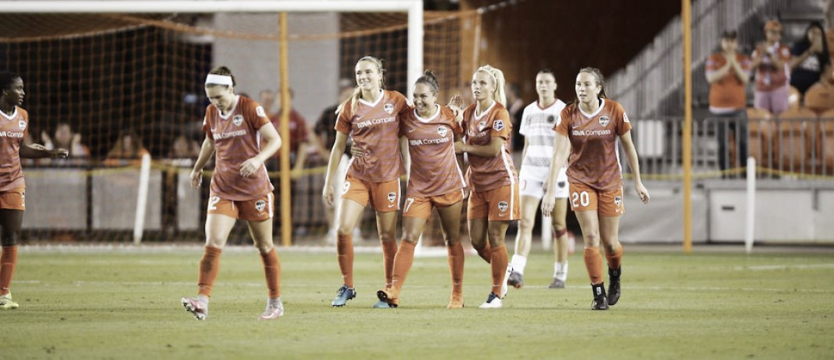 A goal in each half leads to a draw between Houston Dash and Portland Thorns FC