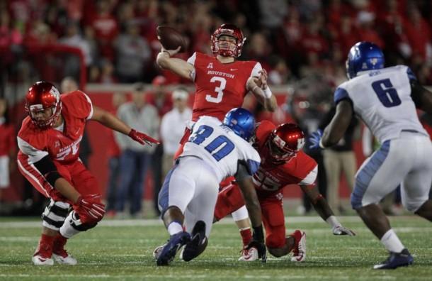 Backup Quarterback Postma Leads #24 Houston Over #21 Memphis in Late Comeback