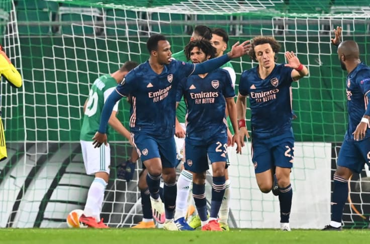 <div>FBL-EUR-C3-VIENNA-ARSENAL</div><div><br></div><div>Arsenal's Brazilian defender David Luiz (2ndR) celebrates scoring with team mates during the UEFA Europa League Group B football match Rapid Wien v Arsenal in Vienna, Austria on October 22, 2020. (Photo by JOE KLAMAR / AFP) (Photo by JOE KLAMAR/AFP via Getty Images)</div>