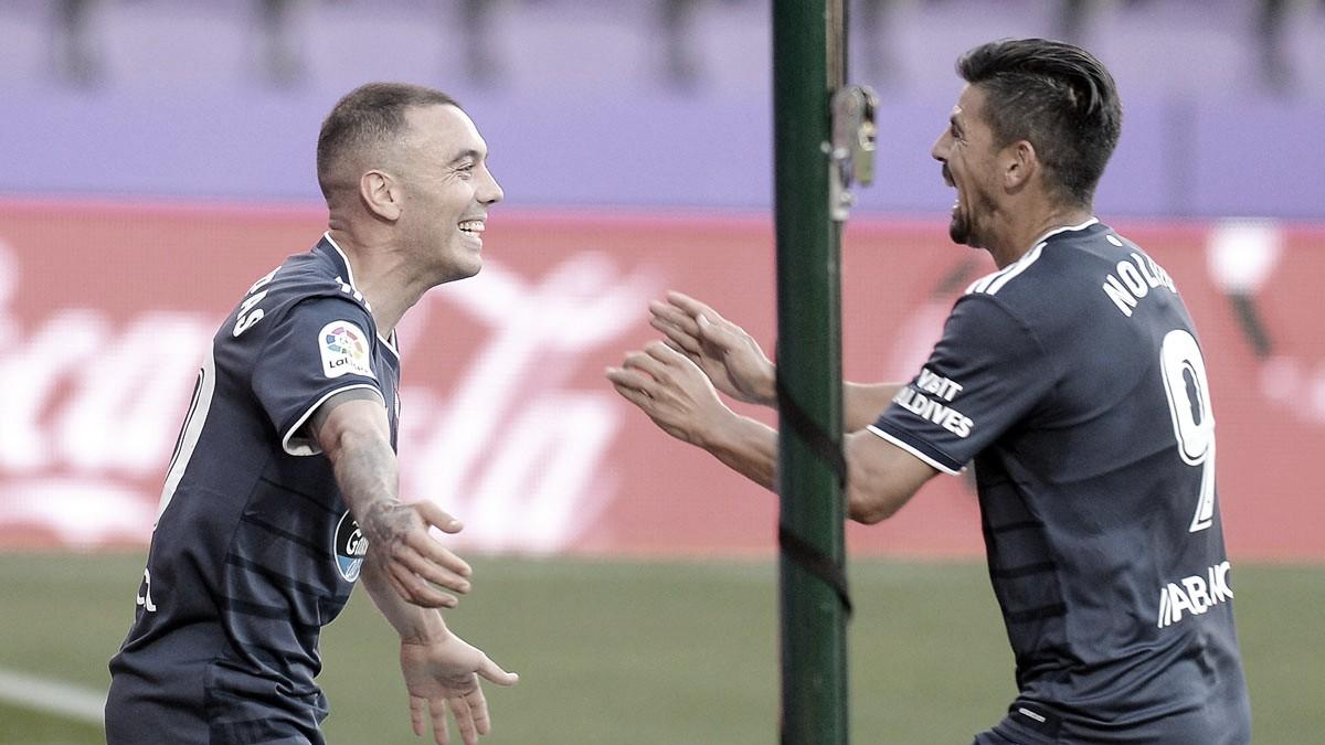 Iago Aspas celebra su gol junto a Nolito contra el Valladolid (Fuente: R.C. Celta de Vigo)