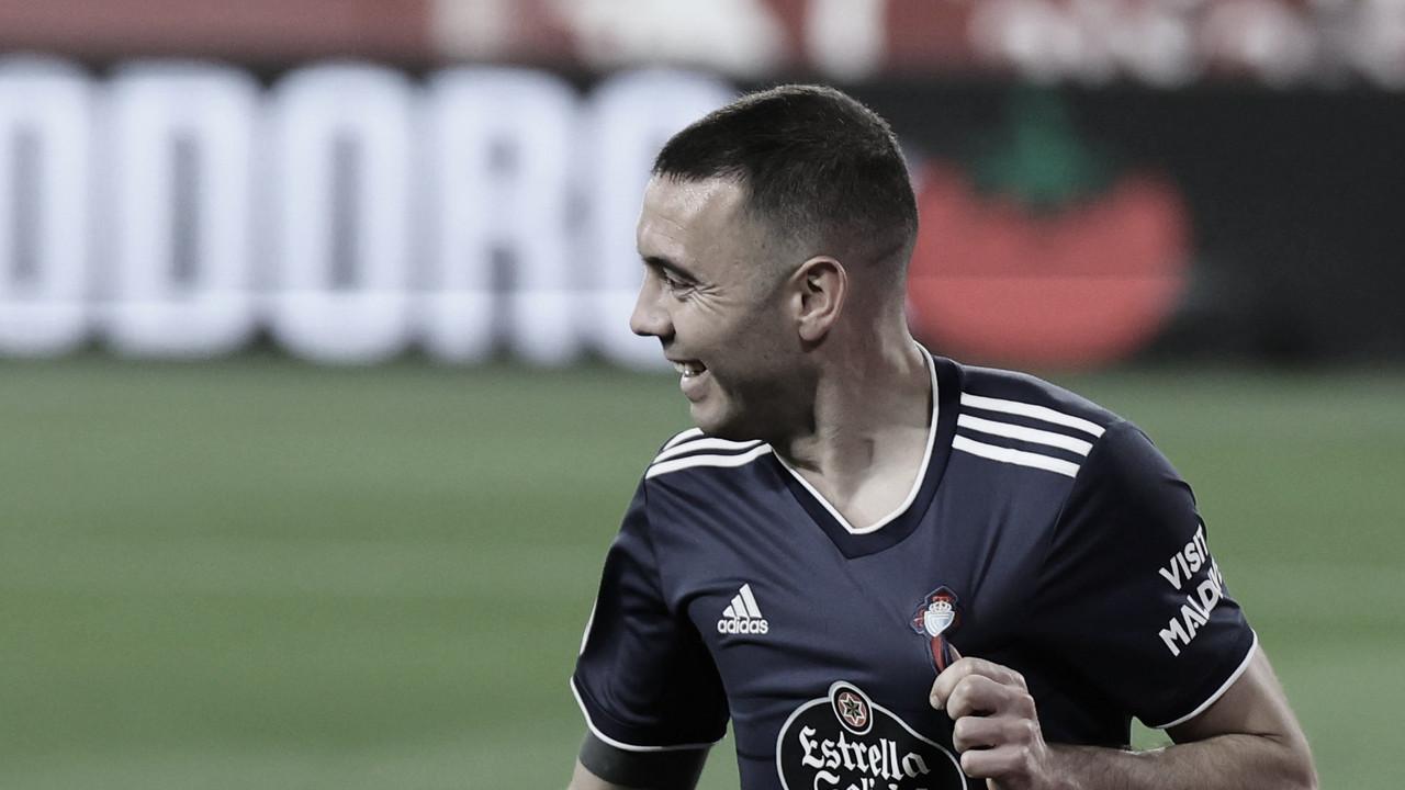 Iago Aspas celebrando el primer gol contra el Sevilla (Fuente: LaLiga)