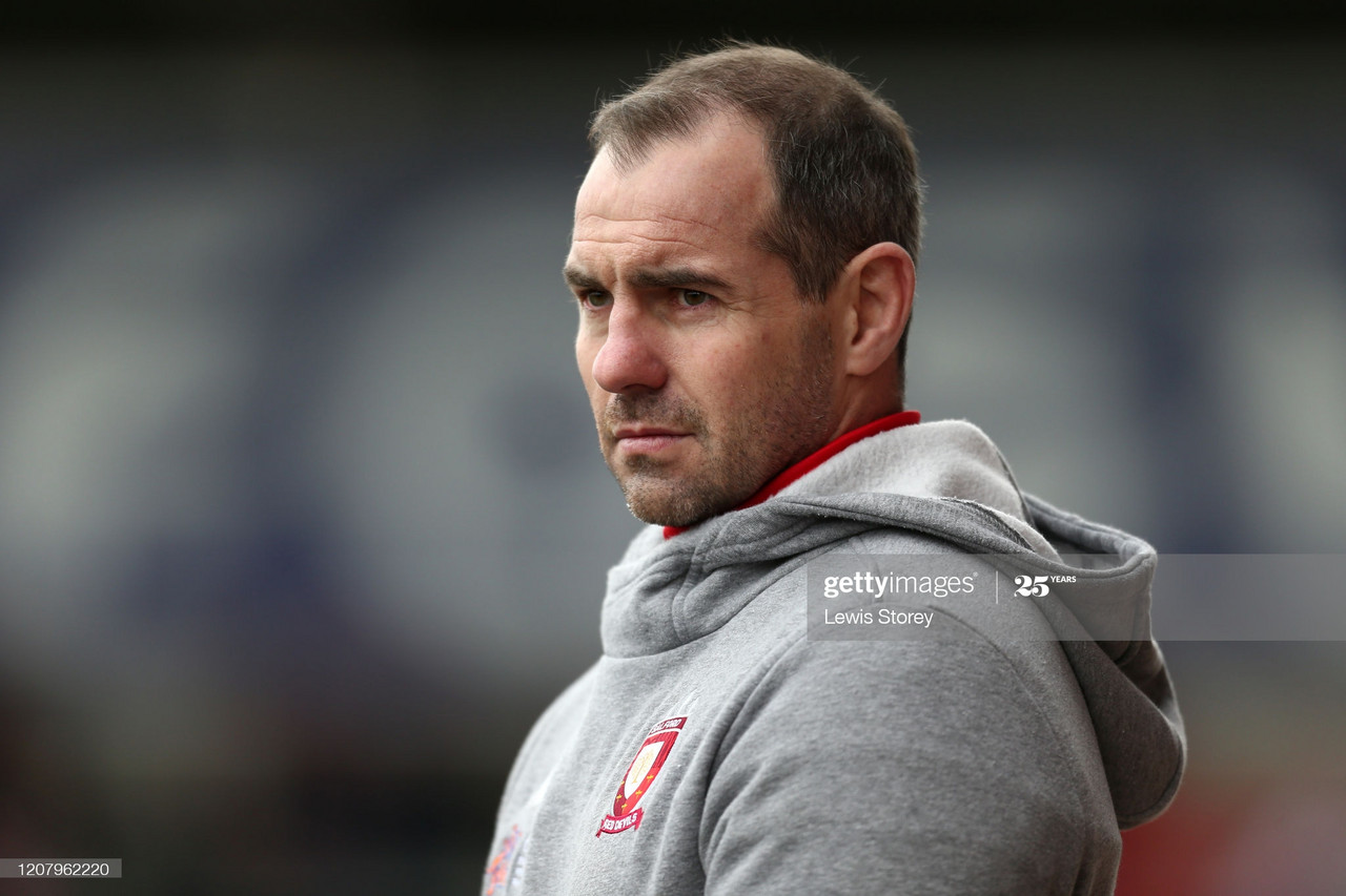 SALFORD, ENGLAND - FEBRUARY 22: Ian Watson, head coach of Salford Red Devils looks on during the Betfred Super League match between Salford Red Devils and Leeds Rhinos at AJ Bell Stadium on February 22, 2020 in Salford, England. (Photo by Lewis Storey/Getty Images)