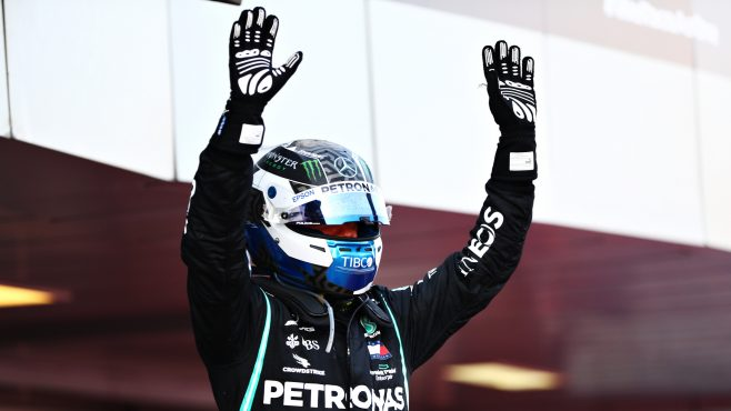 Bottas celebrando la victoria (Fuente: F1)