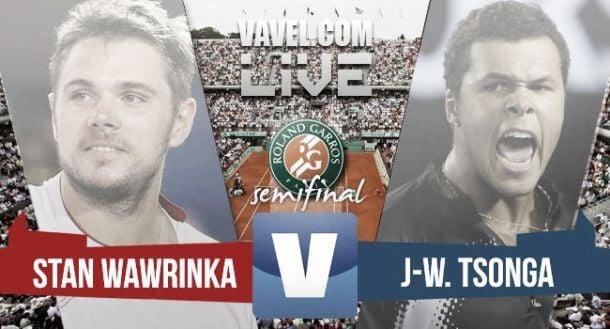 Score Wawrinka - Tsonga in French Open Roland Garros Semifinal 2015 (3-1)