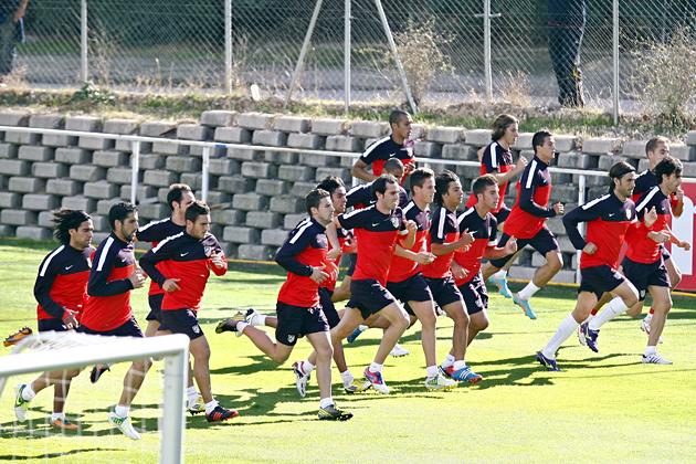 Sesión sin muchos internacionales en el Atlético