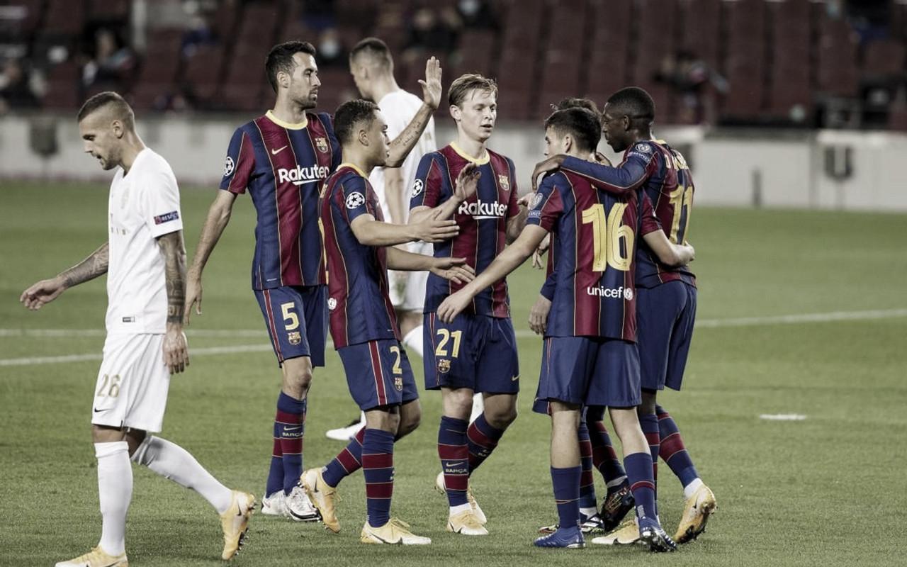 El FC Barcelona en el primer encuentro ante el Ferencváros. Fuente: fcbarcelona.es