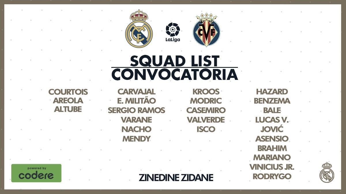 Convocatoria del Real Madrid para el partido frente al Villarreal