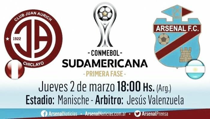 Arsenal debuta como visitante ante Juan Aurich por Copa Sudamericana
