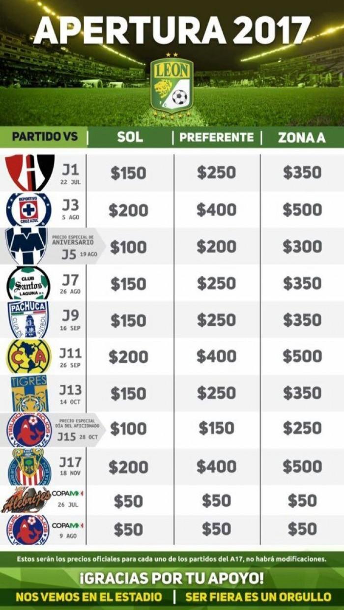 León anuncia los costos fijos de sus boletos antes del Apertura 2017