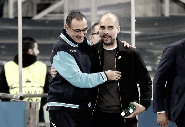 """Pep Guardiola: """"Sarri es un grande, la primera media hora nos han masacrado"""""""